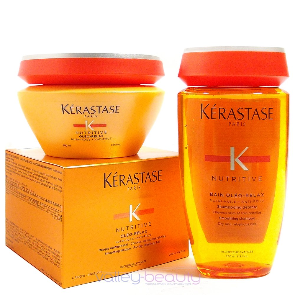 Kerastase Nutritive Bain Oleo-relax Shampoo 8.5 and Masque 6.8 Duo, for Very Dry, Curly, and Unruly Hair by KERASTASE