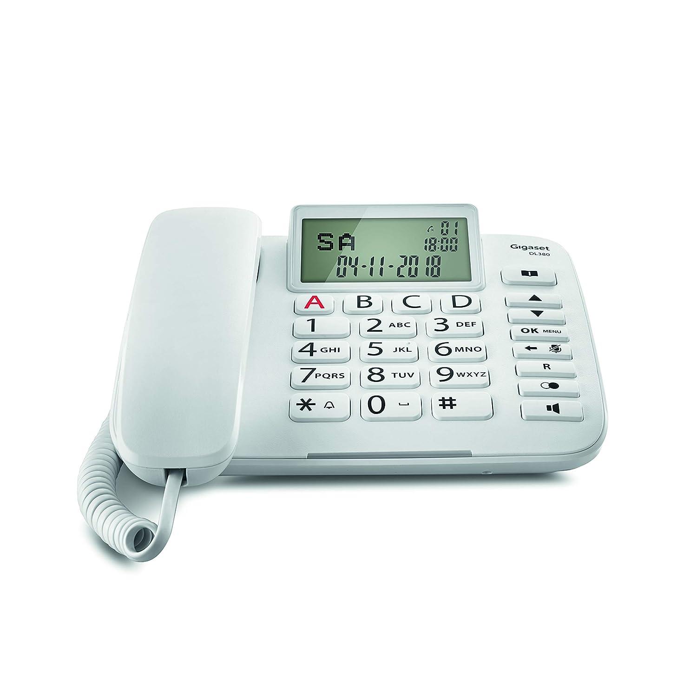 Gigaset DL380. Teléfono Fijo con Cable; Pantalla de Alta Visibilidad; Teclas Grandes; Agenda para 99 contactos; Color Blanco.