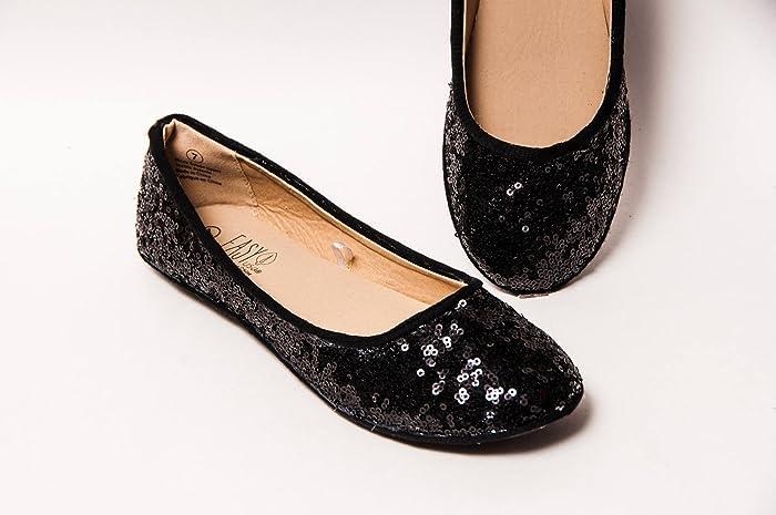 eb212f0c43 Amazon.com: Black Sequin Ballet Flats Slippers Shoes: Handmade
