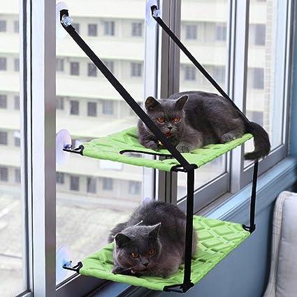 AOLVO Hamaca Grande para Ventana de Gato o Perca, Extra Grande, con Ventana, Asiento con 6 ventosas - Capacidad para hasta 88lbs Mascotas - Flexible y ...