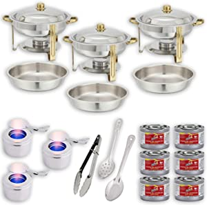 """Round Chafing Dish Buffet Set w/Fuel — Water Pans + Food Pans (4 qt) + Frames + Lids + Fuel Holders + 6 Fuel Cans + Serving Utensils (11"""" Perforated Spoon + 11"""" Solid Spoon + 9"""" Tong) — 3 Full Warmer"""