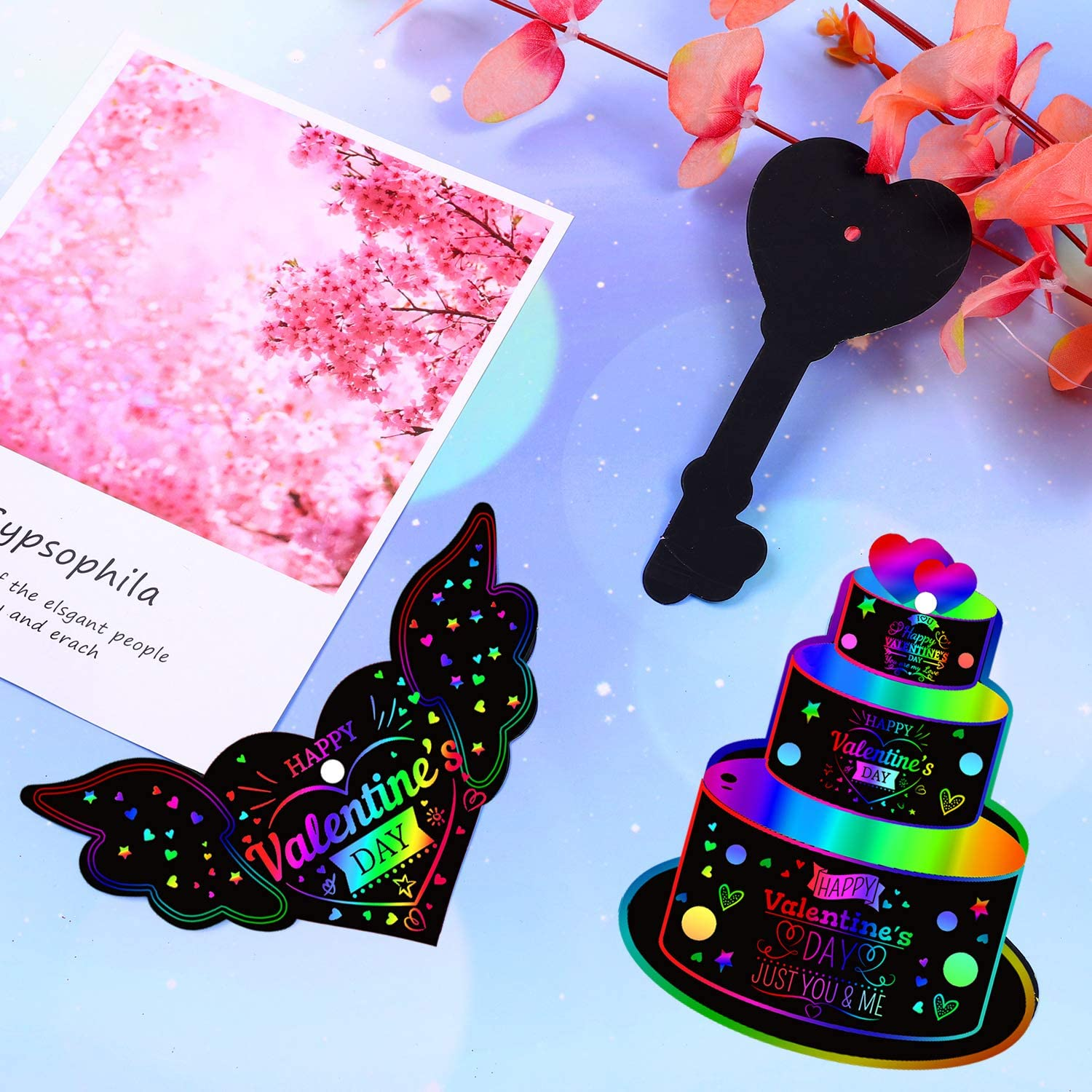 URATOT 48 Set Rainbow Magic Color Scratch Art 12 Styles Valentines Day Scratch Cupcake Ice Cream Card for Gift Tag