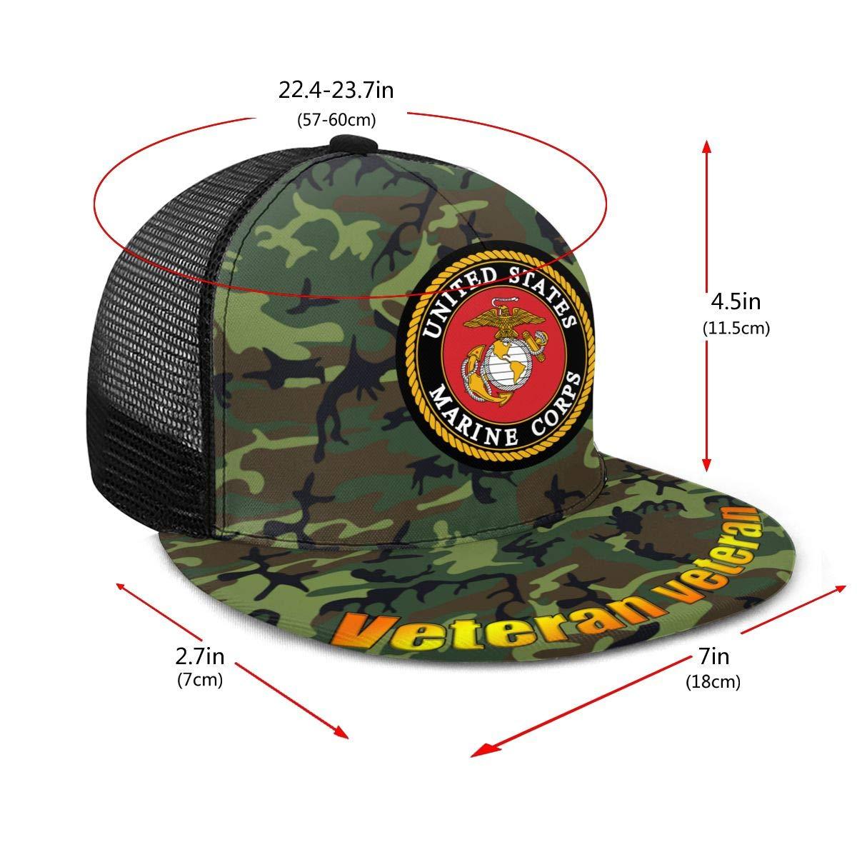USMC Marine Corps Logo Classic Grid Caps Flat Along Baseball Hats Snapback Men Women Hats Adjustable