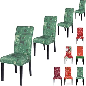 SearchI Chair Covers for Dining Room,Stretch Seat Slipcovers,Chairs Cover Protectors,Washable for Parson Armless Chairs,Home Decor Kitchen Restaurant Christmas Decoration Xmas Party 4 Pack-Xmas Green