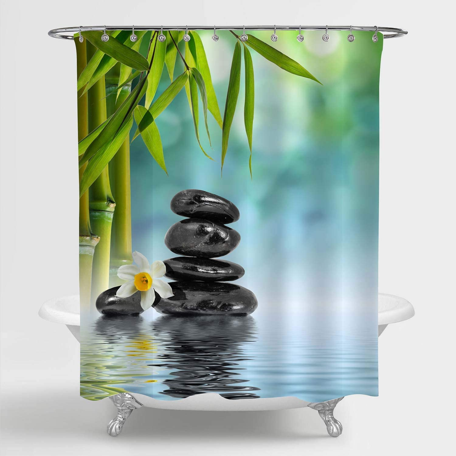 MitoVilla Zen Spa Shower Curtain for Asian Bathroom Decor, Japanese Garden with Frangipani Flower, Balance Basalt Stones and Bamboo on the Water Bathroom Accessories, Gifts for Women, Green, 72W x 72L