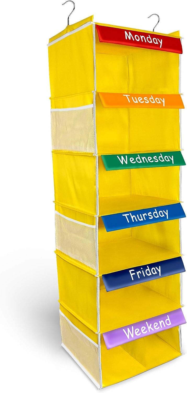 Weekly Happy | Kids Storage Organiser | Hanging Wardrobe 6 Side Pockets for Boys/Girls
