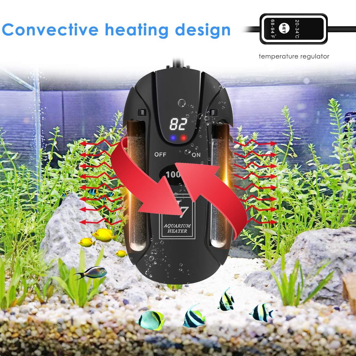 100W Mini Fish Tank Heaters Submersible Aquarium Heater LED Aquarium Fish Tank heater Fish Tank Heater with LED Temperature Display /& External Temperature Controller for Aquarium Glass Fish Tank Turtle Tank 5//10//25 Gallon Submersible Aquarium Heater