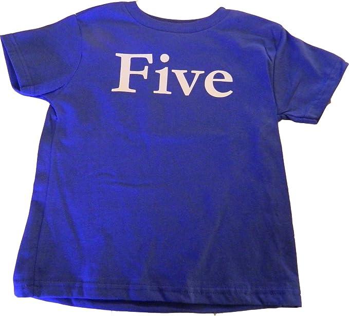 Custom Kingdom Boys 5th Birthday Five T Shirt Blue 5T