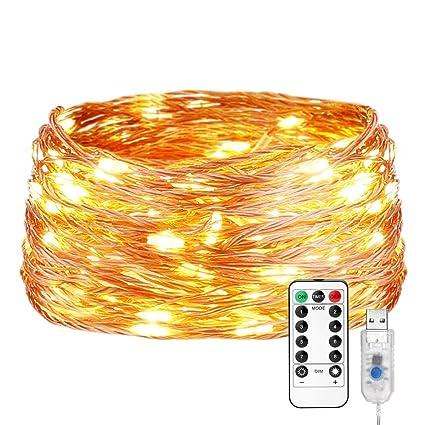 Amazon.com: Le 200LED cobre Luces de alambre, temperatura de ...