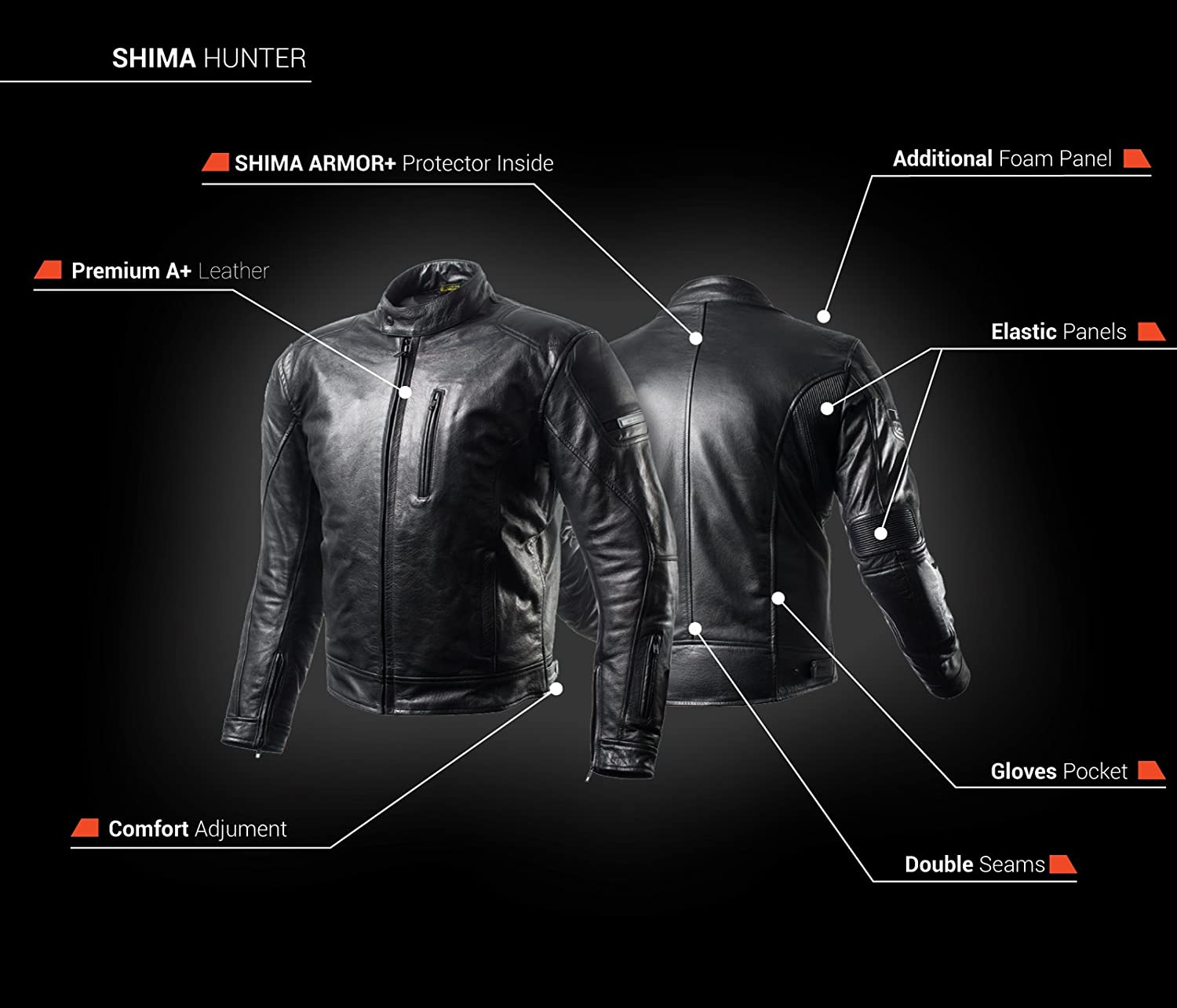 Amazon.com: SHIMA HUNTER, Slim Back Medium Protector Summer Vintage Retro Mens Leather Protective Motorcycle Jacket with Armor and Inside Pocket (S-XXL) (M, ...