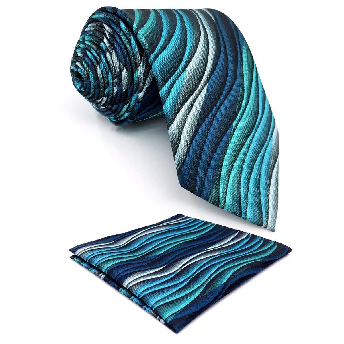 Shlax/&Wing Mens Neckties Extra Long Ripple Blue Multicolored Ties Silk 63