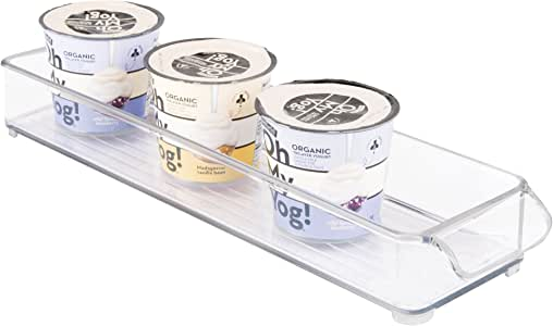 """iDesign Kitchen Binz BPA-Free Plastic Stackable Organizer Tray with Handle - 4"""" x 2"""" x 14.5"""", Clear"""