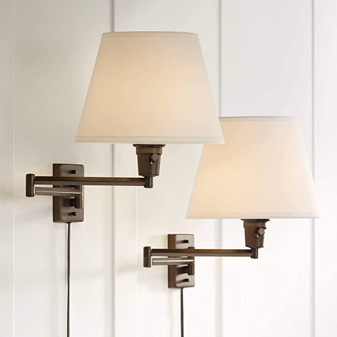 Clement Modern Industrial Swing Arm Wall Lamps Set Of 2 Rubbed Bronze Plug In Light Fixture White Linen Empire Shade For Bedroom Bedside House Reading Living Room Home Hallway 360 Lighting