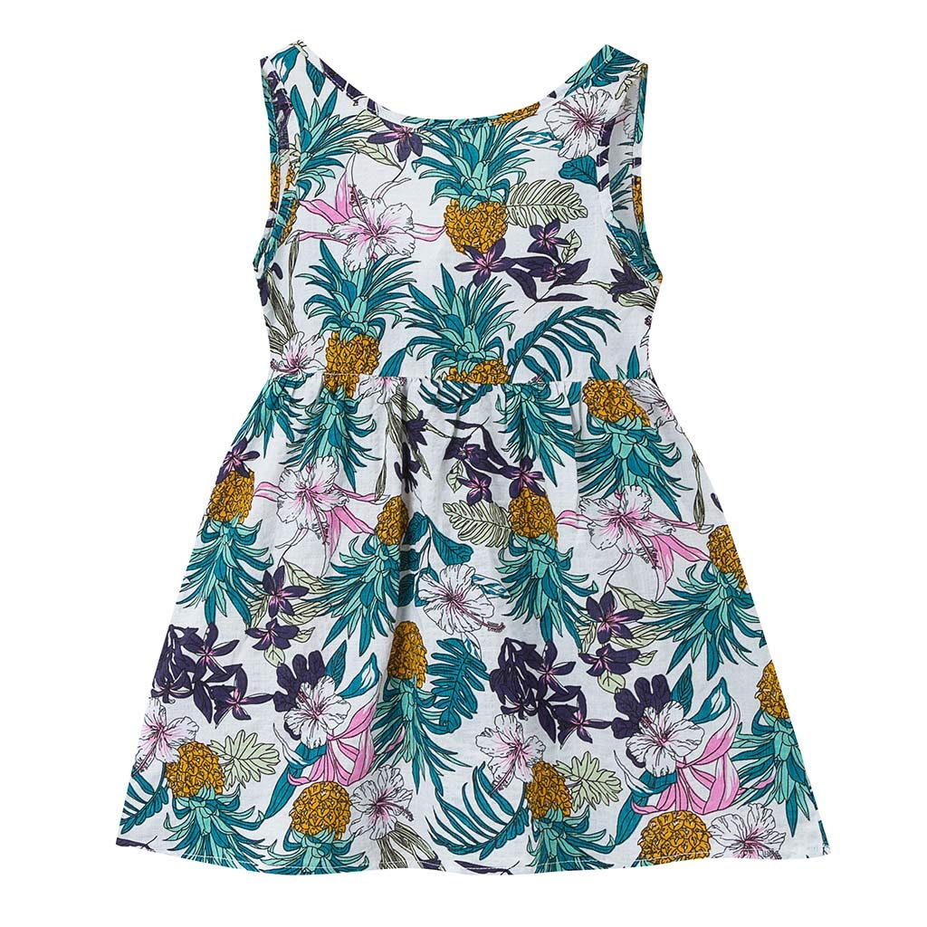 2019 Toddler Kids Baby Girl Boho Girls Dress Print Sleeveless Strap Dress Sundress Bandage Dress (White, Age:3-4 Years)