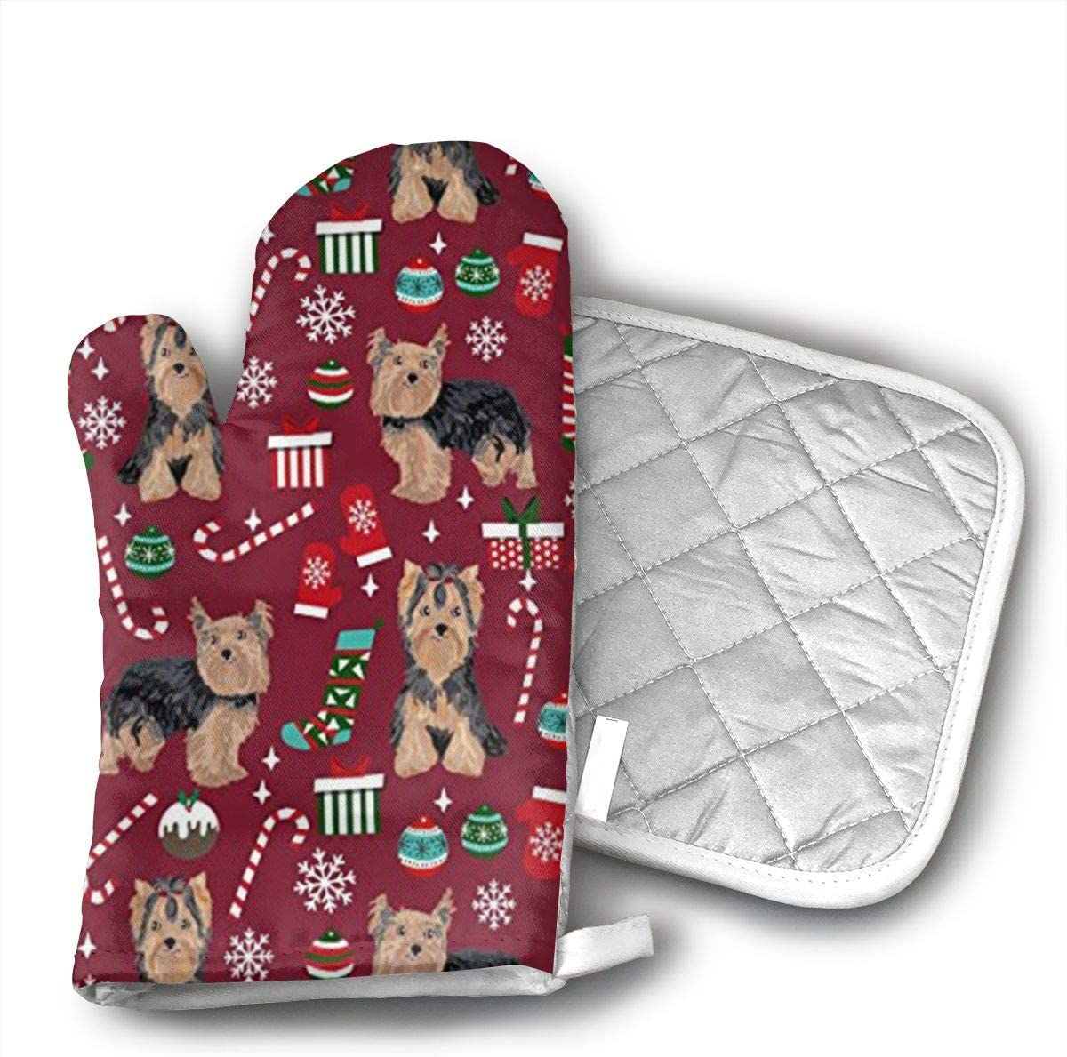 Sjiwqoj8 Yorkie Christmas Dog Kitchen Oven Mitts,Oven Mitts and Pot Holders,Heat Resistant with Quilted Cotton Lining,Cooking,Baking,Grilling,Barbecue