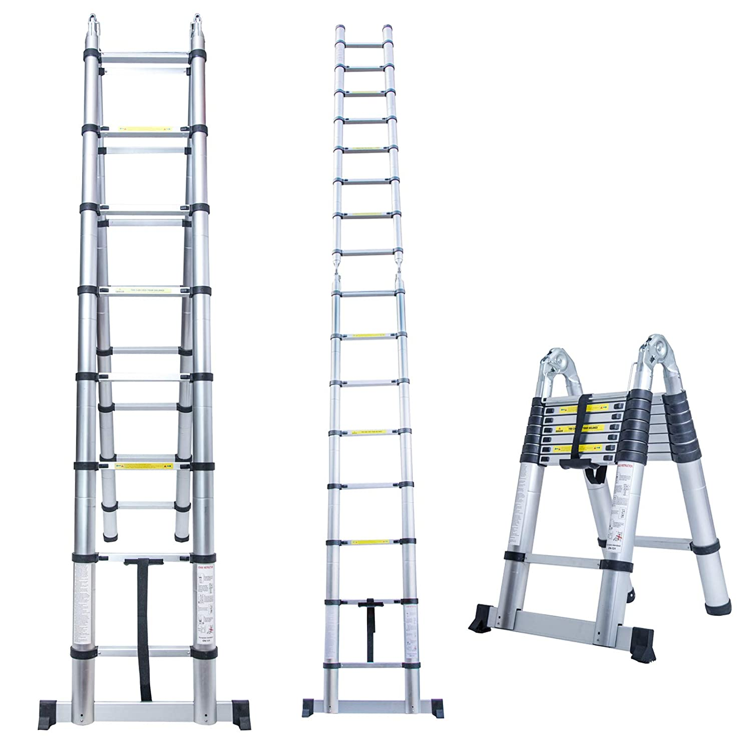 Vosson Aluminum Telescopic Extension Ladder EN131 Certified 16.5 Ft Versatile Telescoping Extendable Ladder with Spring Loaded Locking Mechanism/&Non-Slip 330 Lbs Capacity