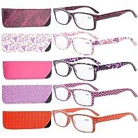 Eyekepper 5-Pack Spring Hinges Patterned Rectangular Reading Glasses Readers Women +1.5