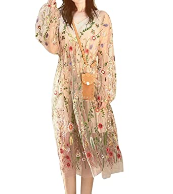 a0be1008a18 BIYOUTH Women s Sexy Sheer Mesh Floral Embroidery Bohemian Long Dress  (Large
