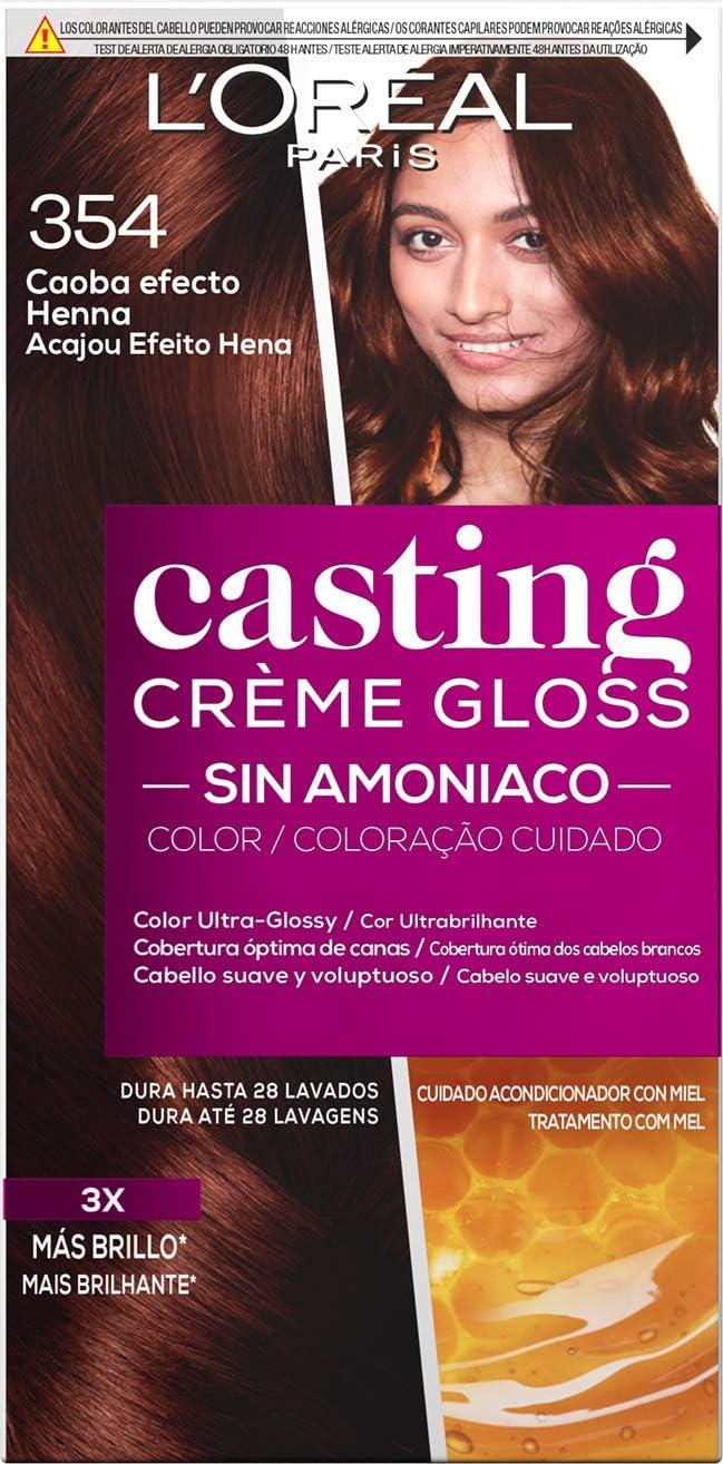 LOreal Paris Casting Crème Gloss Coloración Sin Amoniaco, Tono 354 Caoba Efecto Henna - 3 Paquete de 1 unidad