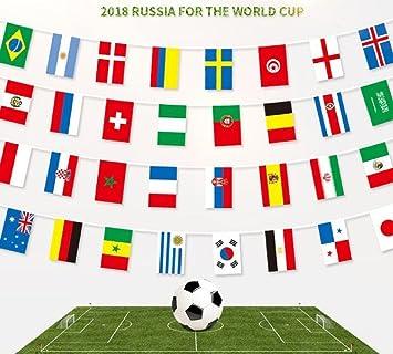 Wimpelkette Fifa Fussballweltmeisterschaft 2018 Mit 32 Flaggen 9 M Stoff