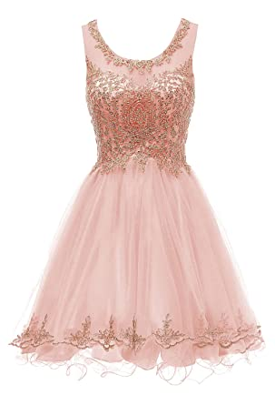 57e5ba2f Yucou Gilr's Short Beading Homecoming Dress for Juniors Scoop A Line Prom  Ball Gowns Blush Pink