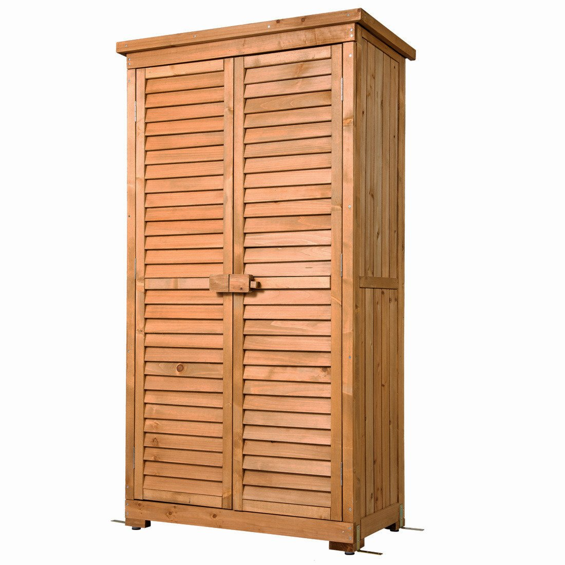 GOOD LIFE Outdoor Garden Wooden Storage Cabinet Furniture Waterproof Tool Shed Blinds Lockers Nature Wood Color LNG384 Not Available