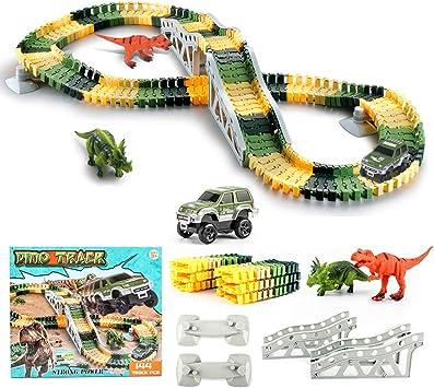 Seciie Dinosaurier Spielzeug, Autorennbahn Twister Tracks
