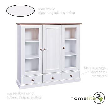 Küchenschrank weiß landhausstil  H24living Vitrine Landhaus weiß Sepia braun Schrank Vitrine Holz ...