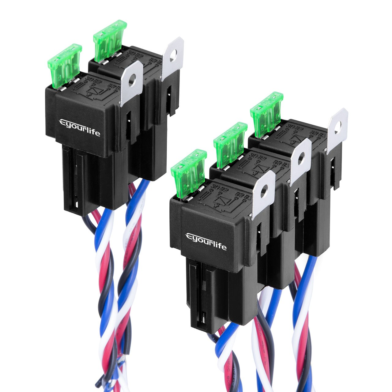 Eyourlife 5 Pack 30 40 Amp Auto Relay Harness With Pin Wiring Diagram Further 12 Volt Diagrams As Well Sockets Wires Spst 12v 40a 4 Mounting Fuse 14awg 18awg Heavy Duty Automotive