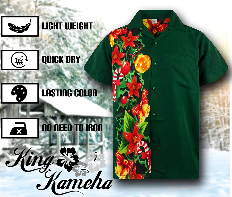 King Kameha Chemise Hawa/ïenne Hommes Funky Casual Button Down Tr/ès Fort Manches Courtes No/ël Unisexe X-Mas P/ère No/ël M/élanger Christmas Buddies