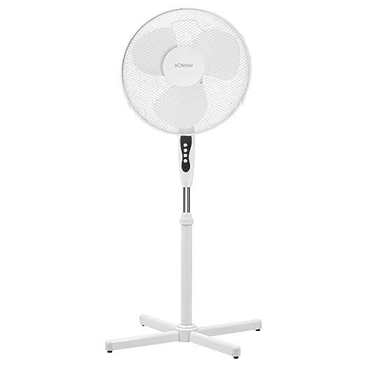 Bomann VL 1139 S CB Ventilador de pie oscilante, 40 cm, 45 W, Metal, 3 Velocidades, Blanco