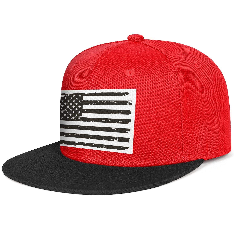 Black and White USA Flag Mens Womens Flat Hats Classic Snapback Flat Brim Cap