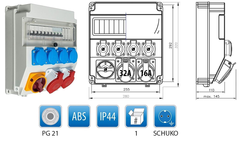 Baustromverteiler Wandverteiler CEE16A oder CEE32A mit Leitungsschutzschalter LS