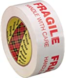 Scotch Printed Message FRAGILE HANDLE WITH CARE Box Sealing Tape 3772  White, 48 mm x 100 m, Conveniently Packaged (Pack of 1)