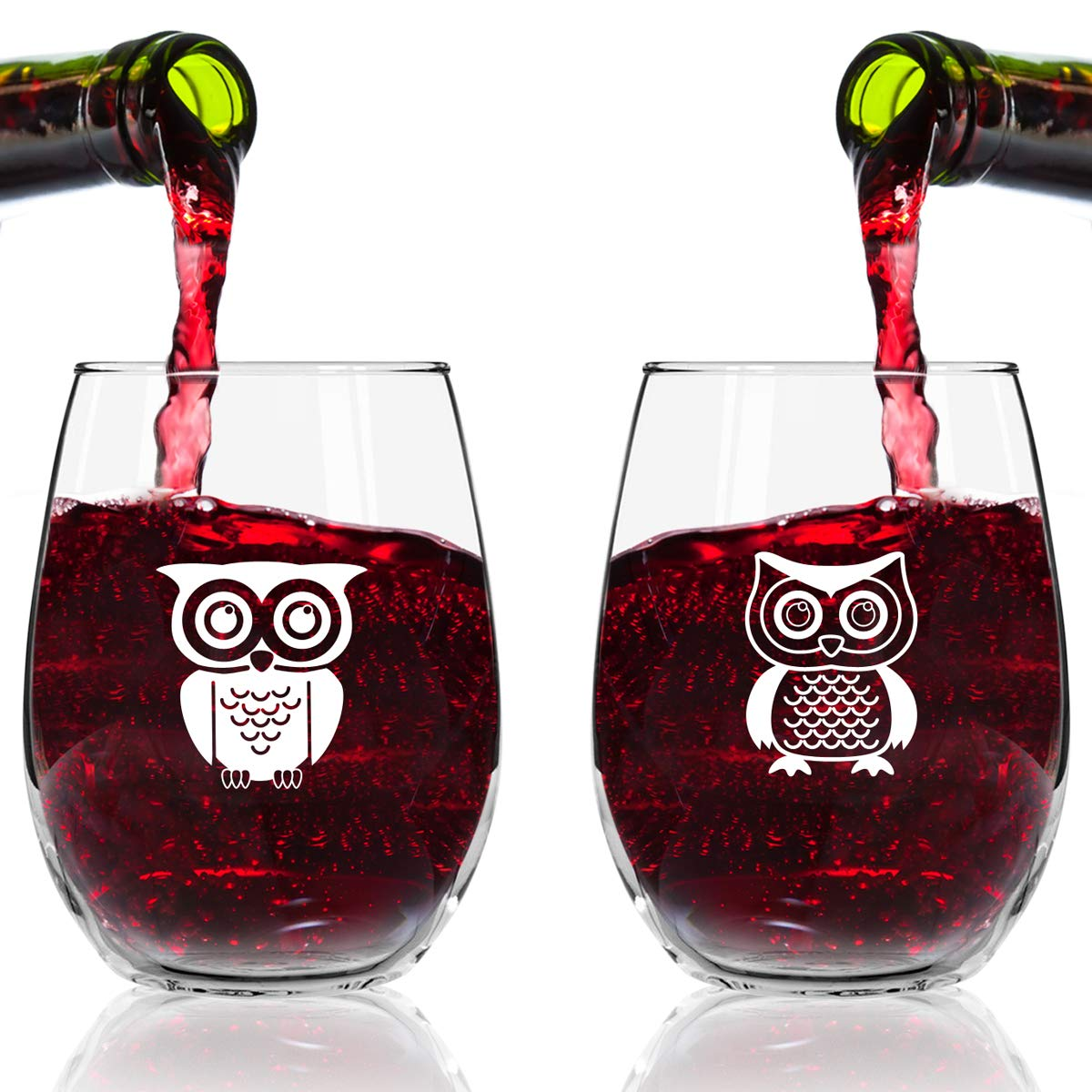 Her Buzzed Infoxicated Quality Made in USA Skunked and Slothed Animal Pack Set of 4 Glasses Funny Stemless Wine Glass Set Novelty Glasses with Cute Sayings for Women