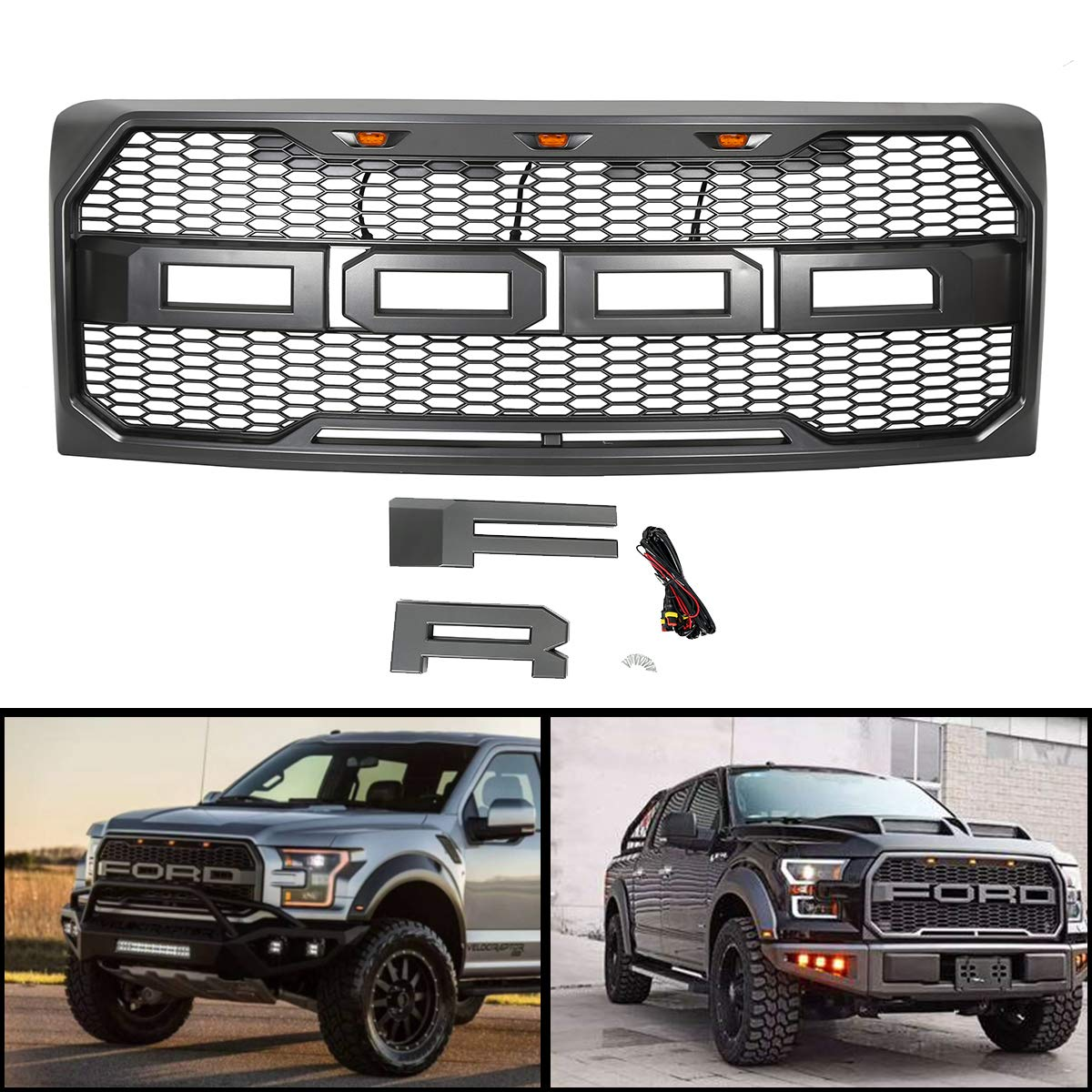 For 2009-2014 Ford F150 Front Mesh Grill Raptor Conversion F&R Letter LED GRAY ECOTRIC