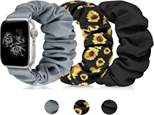 Scrunchies Watch Band for Women, Soft Replacement Elastic Wristband Compatible for iWatch Series 5 4 3 2 1 Compatible with Apple Watch Band 38mm 40mm 42mm 44mm(Black+Grey+Sunflower 38mm/40mm S)
