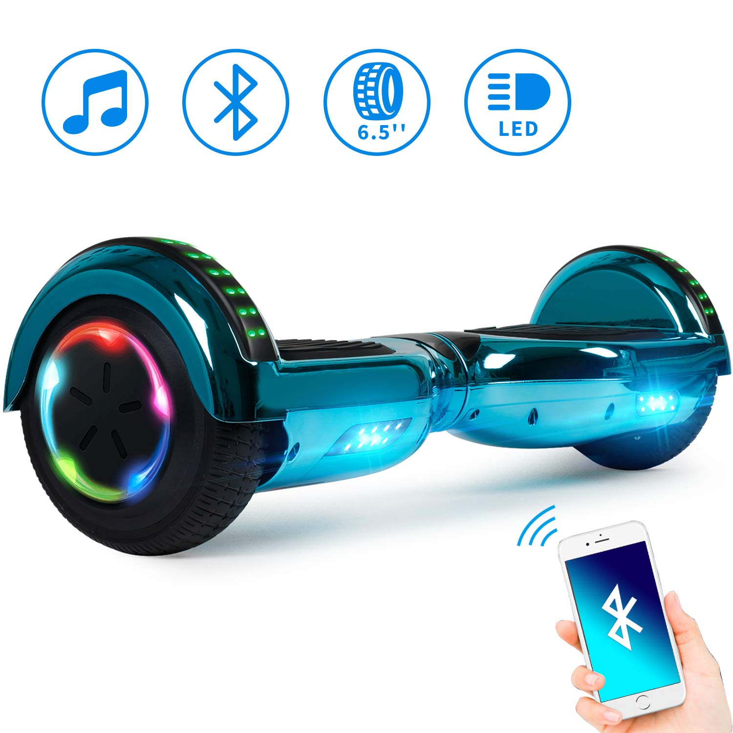 Spadger Hoverboard, 6.5 Self Balancing Hoverboard with Bluetooth and Lights- UL2272 Certified Hover Board Electric Scooter for Kids Adult