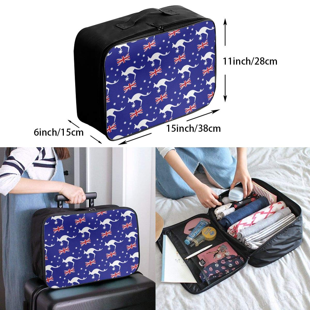 YueLJB Australia Flag Kagroo Lightweight Large Capacity Portable Luggage Bag Travel Duffel Bag Storage Carry Luggage Duffle Tote Bag
