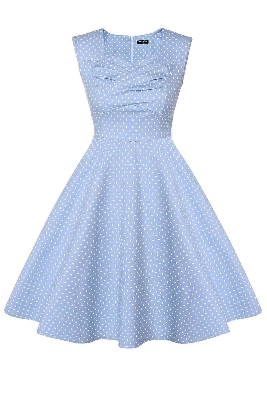 ACEVOG Damen Elegant Party Cocktailkleider 1950er Retro Vintage Ärmellose Abendkleider Polka Dots Sommerkleid Knielang