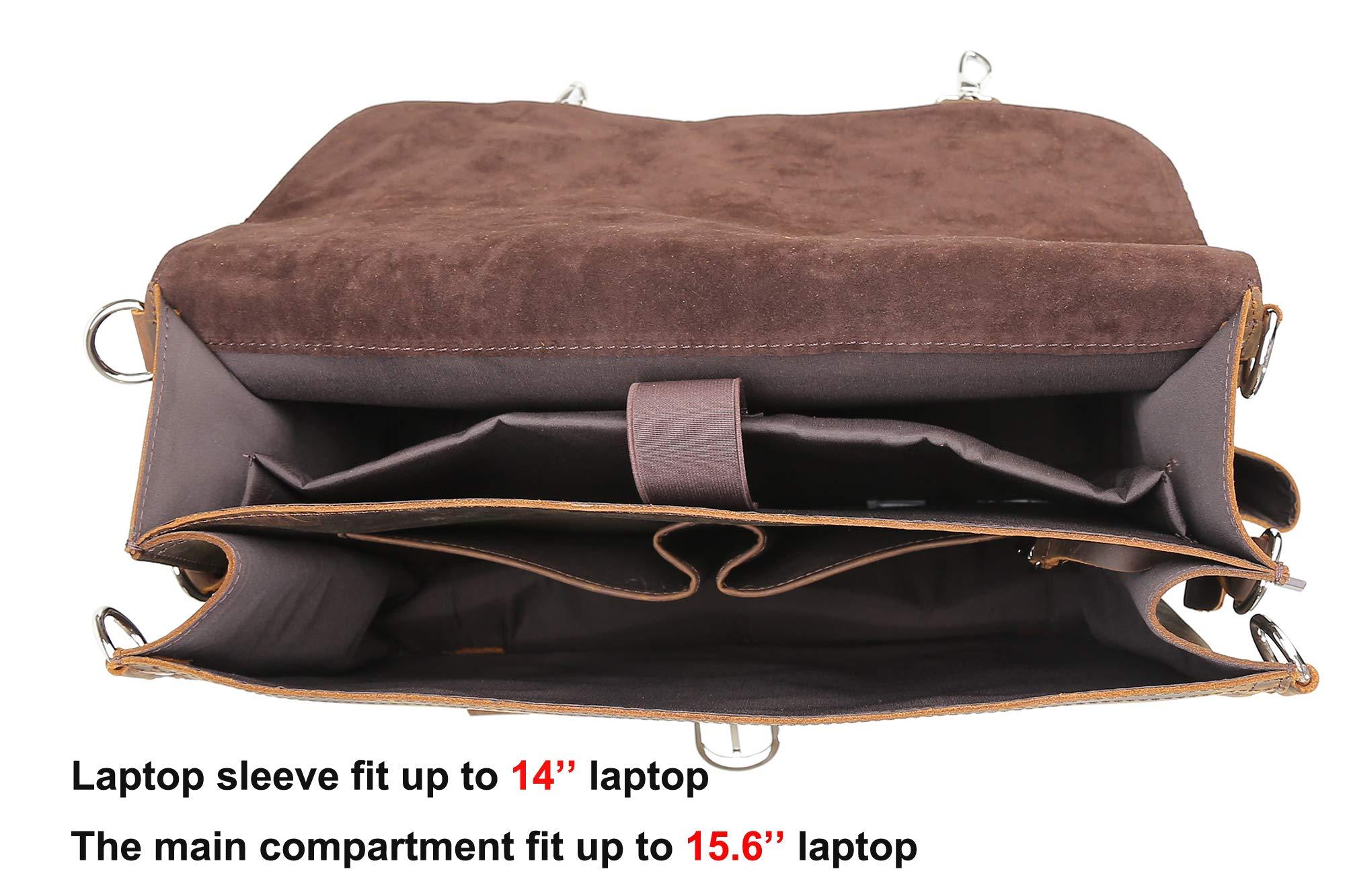 Polare Men's Full Grain Leather 16'' Laptop Briefcase Shoulder Messenger Bag by Polare (Image #4)