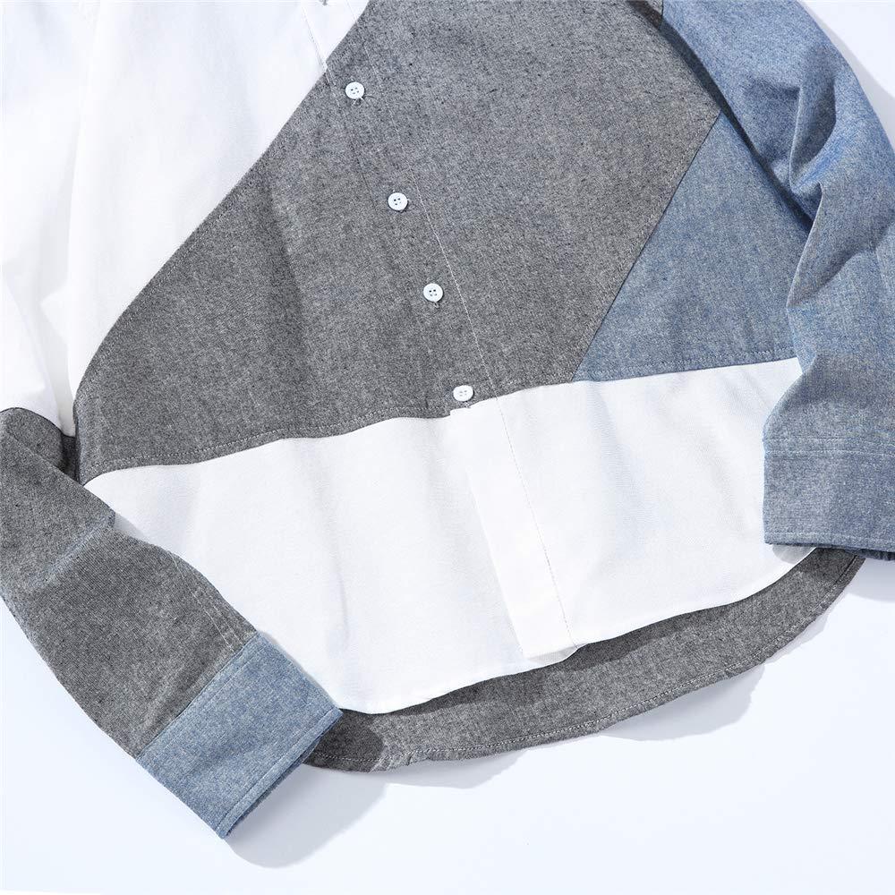HERW Patchwork Design Casual Streetwear Shirt Men Plaid Shirt