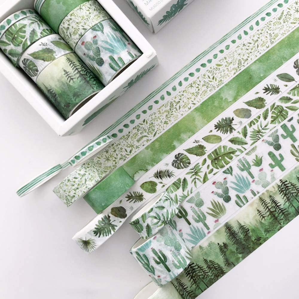 15 Rolls Votanical Washi Tapes by the Paper Studio Watercolor Floral and PlantsGreen Garden Planner Washi Tape