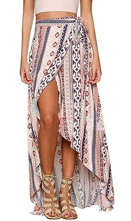 0507a381fe8 Women s Summer Floral Printed Chiffon Asymmetric High Waist Boho Split  Ethnic Maxi Skirt Wrapped Beach Cover