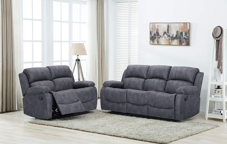 Details about Atara Grey fabric Reclining Sofa Suite 3 + 2 Manual Recliner  Cheap Fabric Sofas