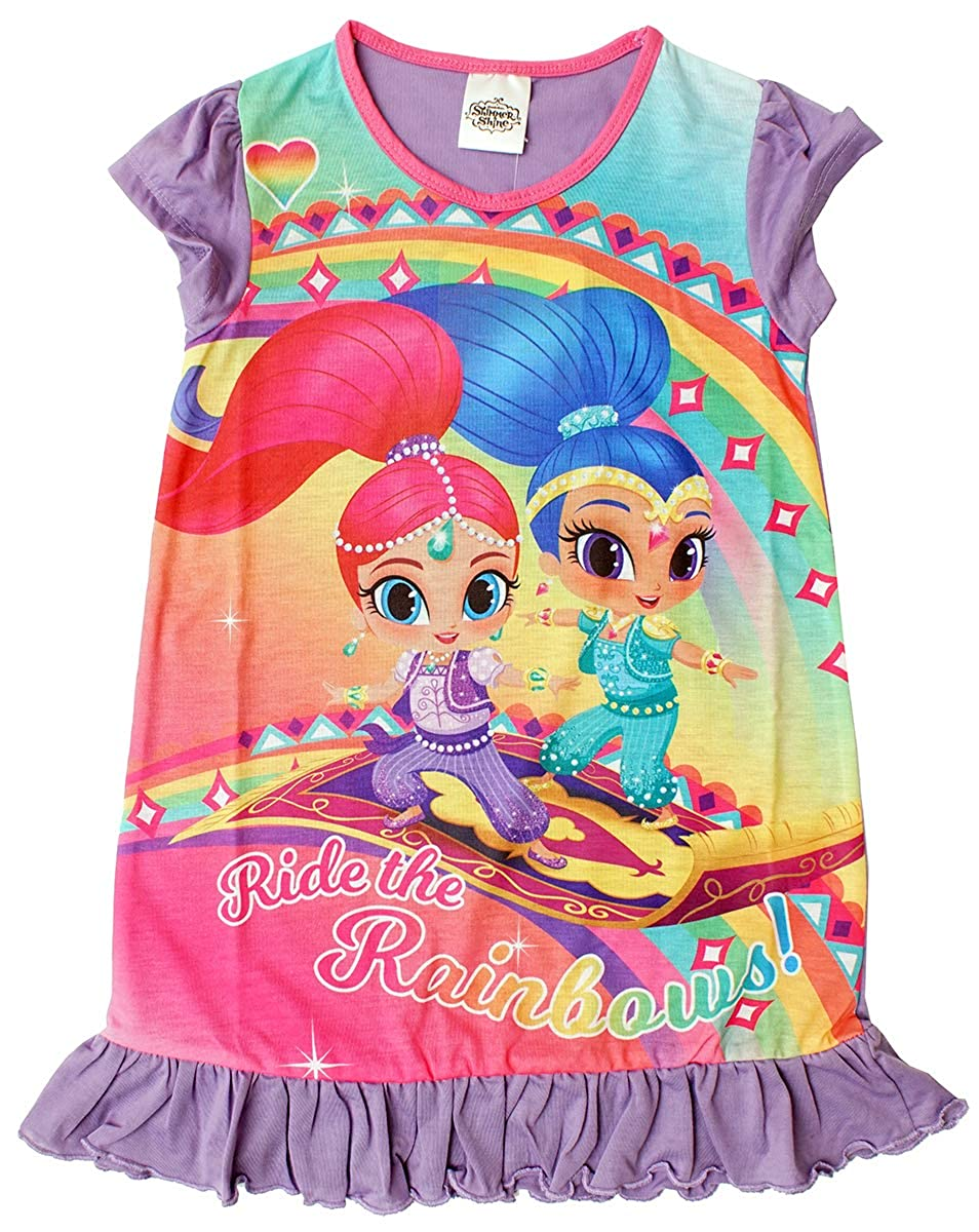 Girls Shimmer & Shine Genie Rainbow Frill Hem Nightdress Nightie Sizes from 2 to 6 Years