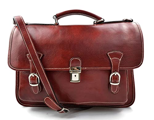 Briefcase leather office bag backpack red shoulder bag