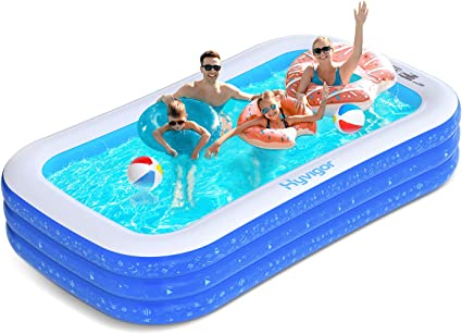 Large Family Inflatable Swimming Pool for Kids Toddlers Adult Full-Sized Blow Up Swimming Pool for Ages 3+ Inflatable Pool 118 x 70 x 22 inch Swim Center for Backyard Garden Outdoor Water Party