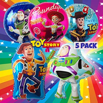 Amazon Com 5pc Foil Balloons Balloon Toy Story Woody Buzz Jessie