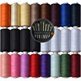 Polyester Sewing Thread-24 Spools All Purpose Polyester Thread Assortment Sewing kit with Free Set 30 Needles for Hand…